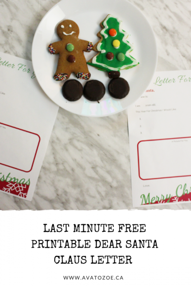 Last Minute Free Printable Dear Santa Claus Letter Template 9