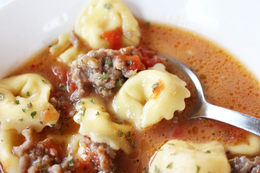 Dinner In A Hurry Italian Sausage Soup With Cheese Tortellini 1